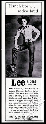 1956 Lee Riders blue jeans cowboy Casey Tibbs photo vintage print ad