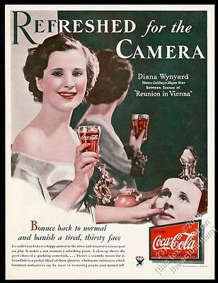 1933 Coke smiling woman photo Coca-Cola Refreshed for the Camera vintage ad