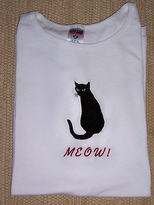 Black Cat Embroidered Meow Summer White Ladies Tee. BLACK CATS ARE BEAUTIFUL