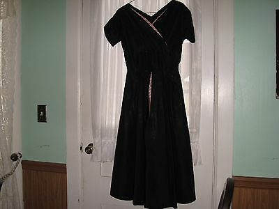 Vintage 50's Black Taffeta Dress With Red & White Inset By Jonathan Logan?
