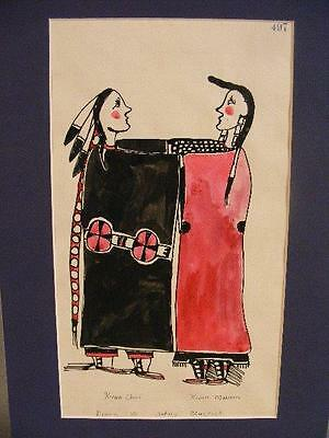 Antique Native American Kiowa Watercolor Painting - Chief & Maiden - Signed