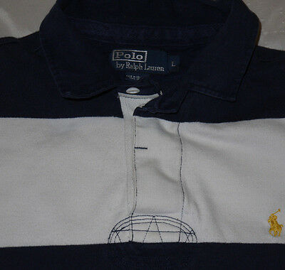 Mens Blue Striped Polo RALPH LAUREN Classic L/S Rugby Polo Shirt size L