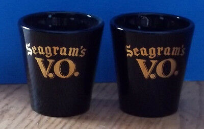 "Seagrams V.O. VO Shotglasses Shot Black Glass  Gold Letters 2.2""  Lot of 2"