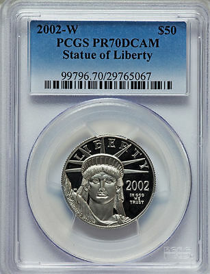 2002-W Platinum Eagle Proof $50 Pcgs Pr70 Stature Of Liberty