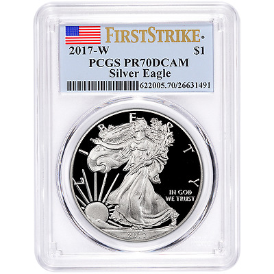 2017-W Proof $1 American Silver Eagle PCGS PR70DCAM First Strike Flag Label