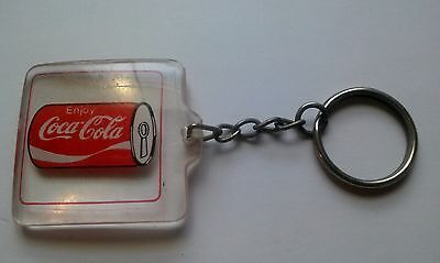 Coca Cola KEY CHAIN--COKE CAN IN CLEAR SQUARE Acrylic