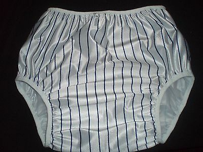 Adult Baby  White With Royal Blue Strips     Soft Vinyl  Pants 36/44