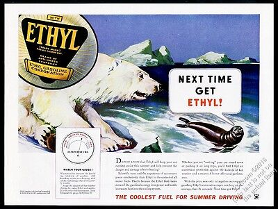 1934 polar bear seal art Ethyl gas vintage print ad