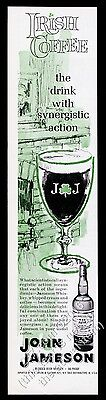 1963 John Jameson Whiskey Irish Coffee drink glass art vintage print ad