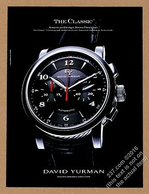 2009 David Yurman The Classic Chronograph watch photo vintage print ad