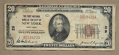 Series 1929 $20 The First National Bank New York, New York National Note #29
