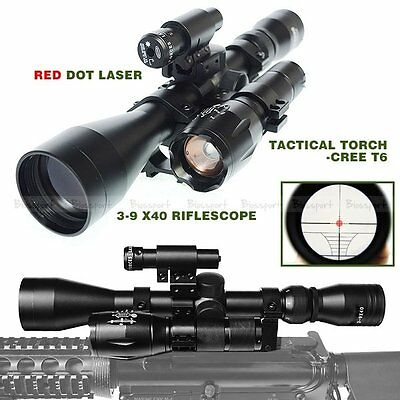 Tactical 3-9x40 Riflescope + 1200 LM Cree T6 Flashlight + Red Dot Laser + Mounts