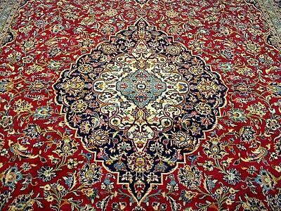 10X14 1940's AUTHENTIC HAND KNOTTED 70+YRS ANTQ GOLD WASHED KASHAN PERSIAN RUG