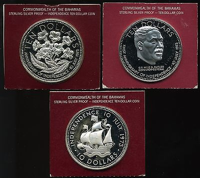 Bahamas $10 1973 1974 and 1975 Proof Sterling Silver Ten Dollars (Lot of 3)