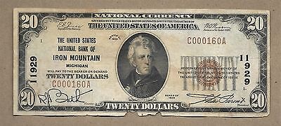 Series 1929 $20 First National Bank Iron Mountain, Michigan National Note #11929
