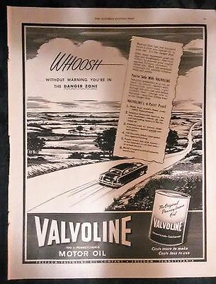 Valvoline Motor Oil Ad From Saturday Evening Post July 30, 1949