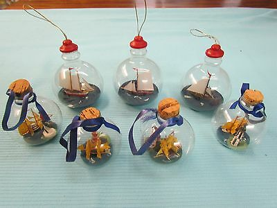 Vintage Lot of 7 Coastal Nautical Glass Ship in Bottle Lighthouses Ornaments