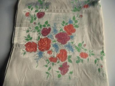 Lovely Vintage Irish Cotton/Rayon Hand Painted Damask Tablecloth -