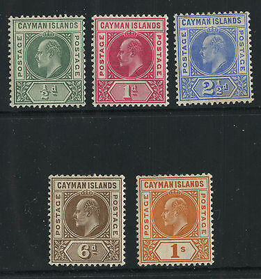 Cayman Islands 1905 KEVII  issue Sc #8-12 mlh