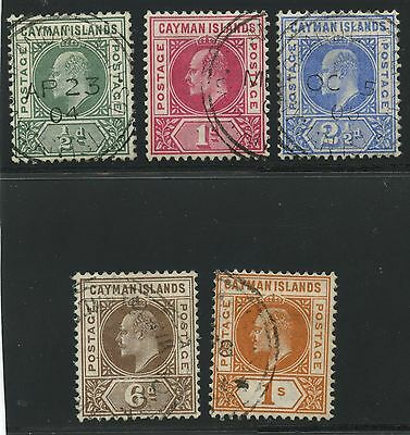 Cayman Islands 1901 KEVII  issue complete Sc #3-7 used