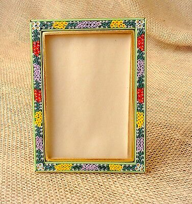 Vintage Micro Mosaic Glass Picture Photo Frame Italy Floral Flower Design