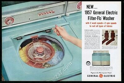 1957 General Electric turquoise blue washer dryer photo vintage print ad