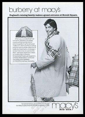 1980 Burberrys man's trench coat scarf umbrella photo Macy's vintage print ad