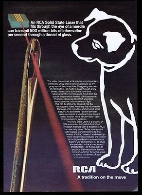 1980 Nipper dog art and laser photo RCA vintage print ad