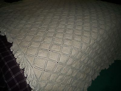 Antique  White  Crochet Popcorn Stitch  Dbl Bed Coverlet  Free Shipping
