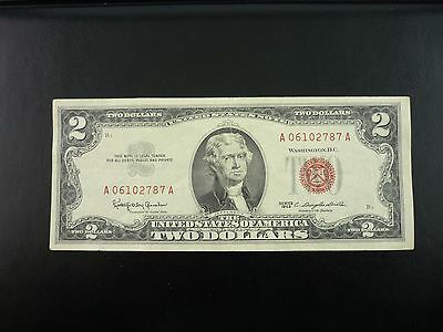 1963 $2.00 Dollar Bill Two Dollar Red Seal  U.S. Note~4002~