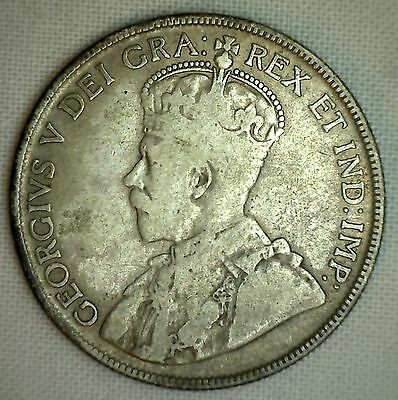 1929 Canada Silver 50 Cents Canadian Fifty Cent Coin Very Good - VG
