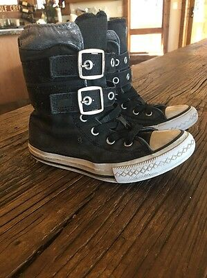 Girls Converse Shoes Black High Top Velcro Size 13