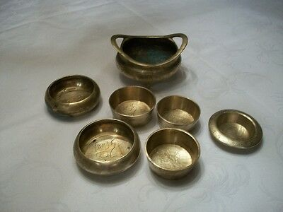 VTG Brass Stacking Chinese ASIAN Measure Cup Weight Set & INCENCESE BOWL SIGNED