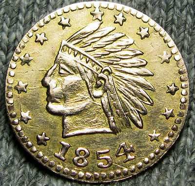 1854 California Gold Token Indian Head Round 1/2 Size --- Real Gold   --- N657