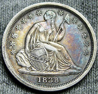 1838 Seated Liberty Dime U.S. Coin --- STUNNING --- #N031