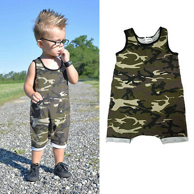 0-3Year Toddler Baby Boys Kid Sleeveless Cotton Romper Jumpsuit Bodysuit Clothes