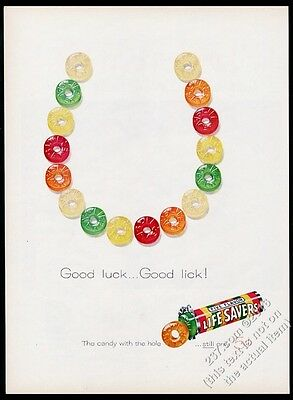 1959 Life Savers five flavors candy good luck horseshoe art vintage print ad