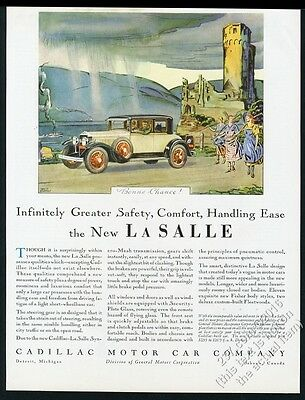1929 Cadillac LaSalle coupe car and castle color art vintage print ad
