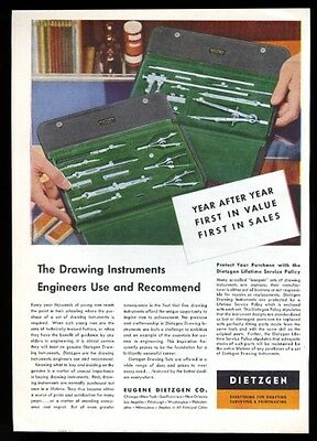 1955 Dietzgen drafting drawing instruments compass etc photo vintage print ad