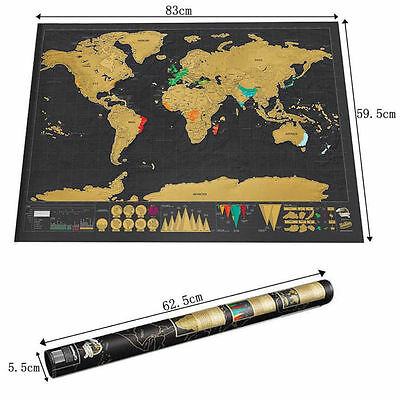 2017 Deluxe Travel Edition Personalized Journal Scratch Off World Map Poster Log