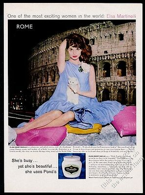 1960 white cat kitten  Elsa Martinelli photo Pond's Cold Cream vintage print ad