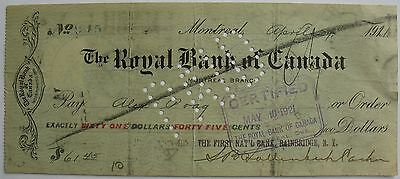 1921 Check- The Royal Bank Of Canada