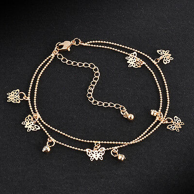 Barefoot Sandal Beach Foot Jewelry Gold Butterfly Charm Chain Anklet Bracelets