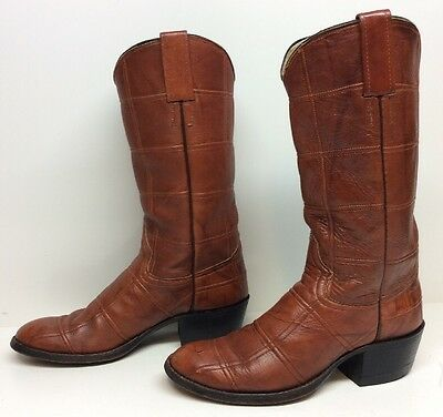 Womens Adams Patch Design Cowboy Leather Brown Boots Size 7 B