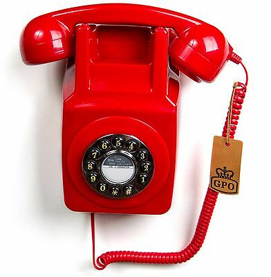 GPO 746 Retro 1970's Push button & Bell Ringer Wall Mountable Telephone - Red