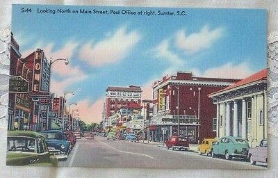 Vintage Postcard Looking North on Main Street, Post Office at Right, Sumter S.C.