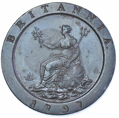 1797 Cartwheel Twopence British Coin From George Iii Ef