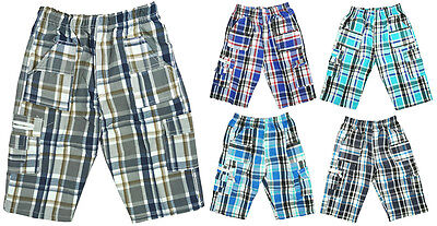 Boys 2017 Modern Checked Combat Pocket Fashion Summer Shorts 3 to 12 Years