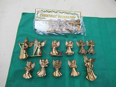 Lot of 16 Vintage Christmas Angels w/Instruments- Gold Plastic Figuriines