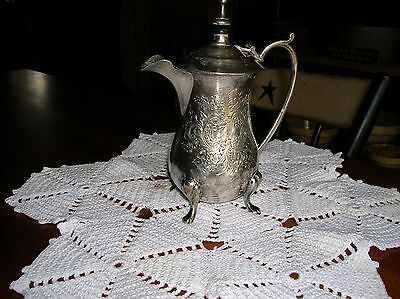 """Antique Ornate Tea Pot Etched Silverplate Single Cup Mark A13 Made In India 6"""""""
